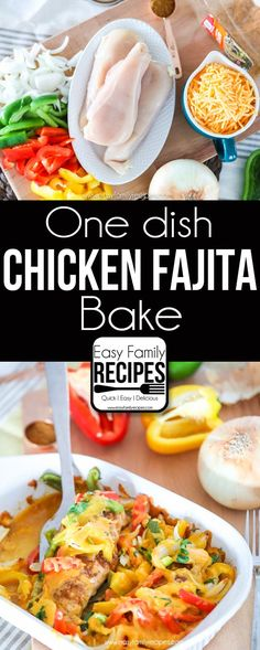 Easy Baked Chicken Fajitas- delicious w/flavor packed into every bite! By Easy Family Recipes Easy Baked Chicken Fajitas- delicious w/flavor packed into every bite! By Easy Family Recipes Baked Chicken Fajitas, Chicken Fajita Recipe, Easy Baked Chicken, Chicken Recipes, Easy Family Meals, Easy Meals, Family Recipes, Homemade Fajita Seasoning, Taco Seasoning