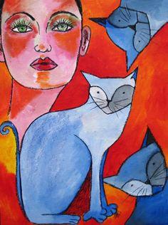 Portrait mit Katzen - Original -   Kunst von *zeitgenössische kunst von maria-mercedes* auf DaWanda.com