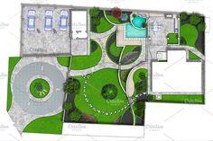 Site Plan Design, Home Design Plans, Landscaping Around House, Pool Landscaping, Back Garden Landscape Design, Exterior Decoration, Backyard Ideas, Garden Ideas, Backyard Lighting