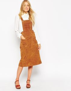 ASOS Midi Skirt in Suede with Dungaree Bodice