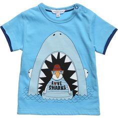 Little Marc Jacobs Boys Blue Cotton Jersey Bird & Shark T-Shirt at Childrensalon.com
