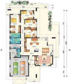 Projekt domu Artemida - murowana – beton komórkowy 161,80 m² - koszt budowy - EXTRADOM House Plans, Floor Plans, How To Plan, Interior, Houses, Plants, Indoor, Interiors, House Floor Plans