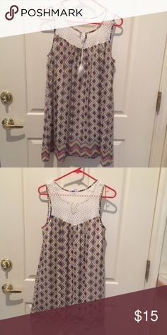 Sleeveless Tunic Colorful design. Can be worn as dress or with leggings. Roomy fit. Lined. Mossimo Supply Co Tops Tunics