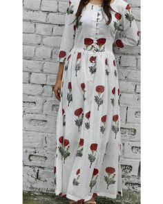 Red flower block printed maxi dress  |  Shop now: www.thesecretlabel.com