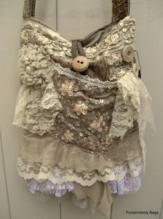 Large Shabby Chic Gypsy Bag soft thick earthy by PursenicketyBags, $150.00