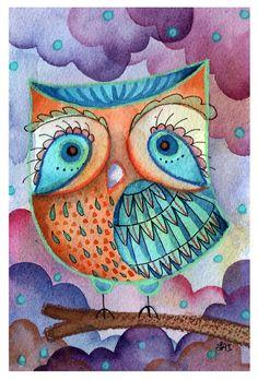 The Unforgettable One - original watercolor painting Lauren Alexander Owls