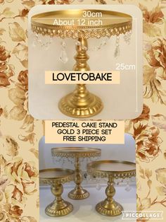 A personal favourite from my Etsy shop https://www.etsy.com/uk/listing/399420803/pedestal-cake-stand-gold-3-piece-cake
