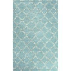 Jaipur Rugs Modern Geometric Pattern Blue/Ivory Wool and Art Silk Area Rug BQ23 (Rectangle)