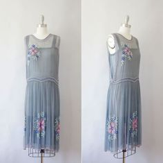 1920s Floral Beaded Silk Chiffon Flapper Dress Labeled: Prosani's Joint Board Sanitary Control, New York City / Pat March 31, 192?