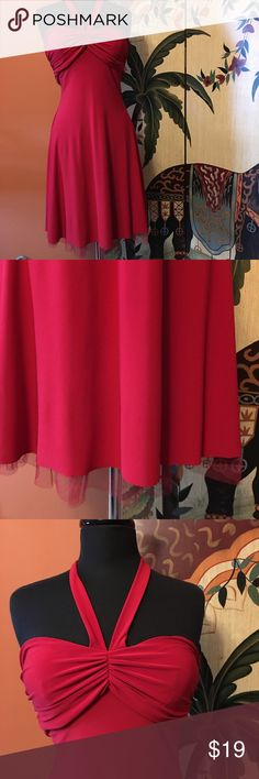💋Gorgeous Red Halter Dress💋 Size 3/4, runs small (see pics for measurements), Red Halter dress in good condition this dress is layer with a tulle lining underneath B Darlin Dresses