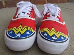 Hand Painted Wonder WomanInspired Symbol Canvas by TheFrench. Painted Canvas Shoes, Painted Sneakers, Hand Painted Shoes, Painted Clothes, Crazy Shoes, On Shoes, Vans Old Skool, Wonder Woman Shoes, Sharpie Shoes