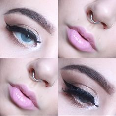 Glam eyes and pink lips.