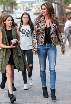 Fashionable Family: Cindy Crawford and her teenage daughter Kaia looked like they were both on the runway while on their way to a sushi dinner in Malibu on Saturday