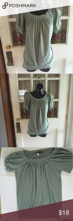 Bcbgmaxazria Green pleded shirt short slightly puffed sleeves losser fit 18.5 inches from armpit to armpit 25 inches from shoulder to bottom of the shirt BCBGMaxAzria Tops Blouses