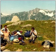 RAF MR contingent, Joint Services Alpine Meet, 1977. On the Index, Chamonix Valley. In here - Bob Anderson, Dave Wood, Colin True, Tom MacDonald (me) + other ?