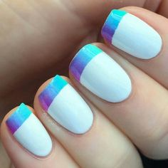 Ombre blue French manicure