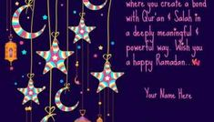 Your Name on Ramadan Purple Flower Greeting - Dumbo's Diary Greetings Ramadan Wishes, Your Name, Eid Mubarak, Purple Flowers, First Love, Blessed, Names, Moon, Stars