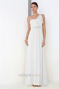White Silk Empire Waist Shadow Stripe One-Shoulder Silk Gown Formal Dress   $125.00
