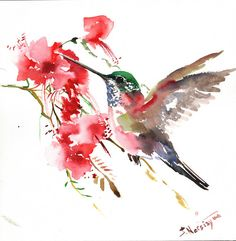 Hummingbird and red flowers Original watercolor by ORIGINALONLY, $42.00
