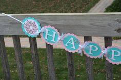 Winter Onederland Snowflake Happy Birthday Banner by AngiesDesignz