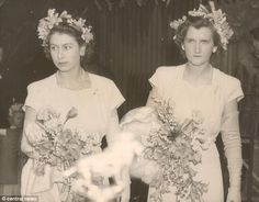 The Queen and Lady Margaret were bridesmaids at the wedding of the Hon Mrs V. Cary Gibbs, her Lady-in-Waiting, and Capt. The Hon. Princess Elizabeth, Princess Margaret, Queen Elizabeth Ii, Duchess Of York, Duke And Duchess, Queen And Prince Phillip, Wedding Bride, Wedding Dresses, Lady In Waiting