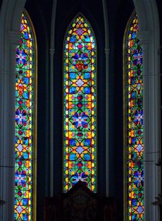 Stained glass window, St Andrew's Cathedral, one of the oldest buildings in Singapore..
