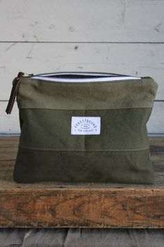 WWII era Striped Canvas Utility Pouch: I really like the different colors of green together, but would want a strap to wear it as a bag.