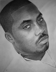 A drawing of an American rapper and actor Nas, by Artist Kevin Okafor; using graphite pencils on sketching paper.