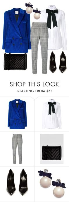 """blue jacket velvet"" by descubretubelleza ❤ liked on Polyvore featuring Maison Rabih Kayrouz, Dolce&Gabbana, Alexander Wang, ALDO, Yves Saint Laurent and Kate Spade"