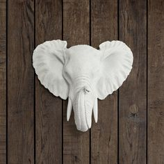 The Mini Savannah in White- Faux Elephant Head - Fauxidermy Ceramic Fake Taxidermy Resin Mounted Animal Decor Decorative Plastic Mount Art