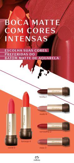 Boca matte com cores intensas: escolha suas cores preferidas do batom batte de Aquarela.