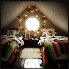 A quirky loft/attic idea for a kids bedroom #teenager #sleep #child