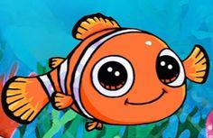 Nemo Kawaii Disney, Cute Disney, Cute Drawlings, Cute Art, Disney Drawings, Cartoon Drawings, Jing Y Jang, Heros Disney, Emo Art
