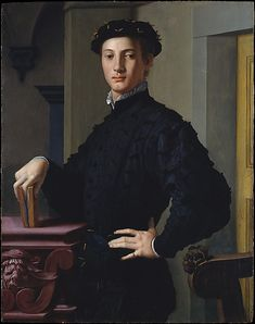 Portrait of a Young Man  Bronzino (Agnolo di Cosimo di Mariano) (Italian, Monticelli 1503–1572 Florence)  Date: 1530s Medium: Oil on wood Dimensions: 37 5/8 x 29 1/2 in. (95.6 x 74.9 cm) Classification: Paintings Credit Line: H. O. Havemeyer Collection, Bequest of Mrs. H. O. Havemeyer, 1929 Accession Number: 29.100.16