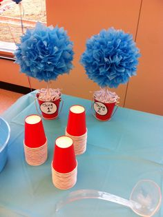 Thing one and thing two twin baby shower theme. Decoration.