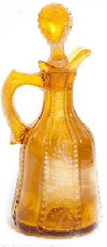 Holly Amber Greentown Glass   Holly Amber Cruet made by Indiana Tumbler and Goblet Co., Geentown, IN