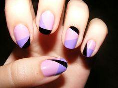 Light pink, lavender,& black nails