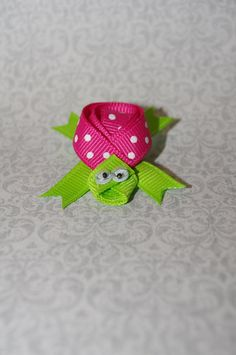 Turtle Ribbon Sculpture Hair Clip pink and by KendallsClosetofCute