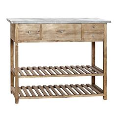 Hübsch Zinc Top Table with 4 Drawers