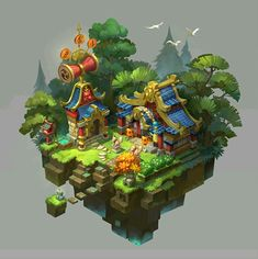 japanese style by Erin Lin. Isometric Map, Isometric Design, Game Environment, Environment Design, Bg Design, Game Design, 3d Fantasy, Game Concept Art, Building Art
