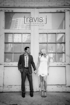 Black and White Urban Engagement Photo, Denver Colorado, Travis J Photography