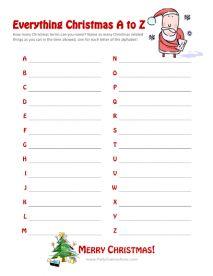 """""""Everything Christmas A-Z"""" Game - Printable Christmas Games"""