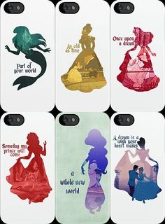 Disney Princesses Silhouettes  Kinda wish I had an I phone  Just so I can have these cases