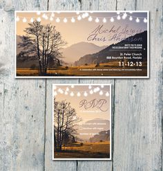 Autumn Field and Romantic Shining Lights Wedding Invitation and Reply Card Set - Wedding Stationery. $1,35, via Etsy.