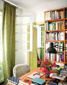 Madison Cox's house in Tangier Morocco, T Magazine, photo by Oberto Gili. Interior Inspiration, Design Inspiration, Design Ideas, Printed Curtains, Patterned Curtains, Green Curtains, Home Libraries, Small Spaces, Work Spaces