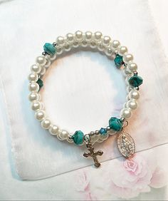 White Glass Pearl, Turquoise Colored Rosary Bracelet, Memory Wire Rosary Bracelet, Rosary Bangle, Catholic Bracelet, Catholic Gifts by LivAriaDesigns on Etsy