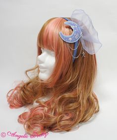 Angelic Pretty Cosmic Head Bow in lavender, pink, or navy