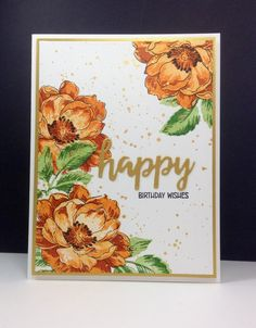 Beautiful Day: Altenew, gold splatters, brushstroke sentiment dies: MFT, flower sketch, by beesmom