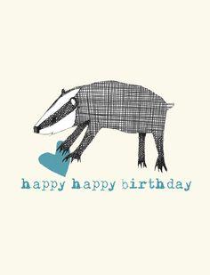 Badger Badger Illustration, Illustration Art, Cool Birthday Cards, Honey Badger, Cute Characters, Linocut Prints, Art Music, Printing On Fabric, Original Art