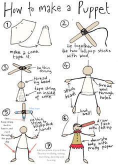 How to make a string puppet: You will need: Thin cardboard (cut into shape in step Lollipop sticks Wool Strong cotton thread Unvarnished big wooden bead Small wooden drop shaped beads Felt tip pen Pretty papers (marionettes, how-to) Diy For Kids, Crafts For Kids, Arts And Crafts, Puppets For Kids, Paper Puppets, Marionette Puppet, Puppet Crafts, Puppet Making, Finger Puppets